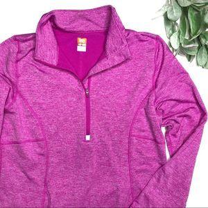 LUCY | sz L hot pink thermal half zip